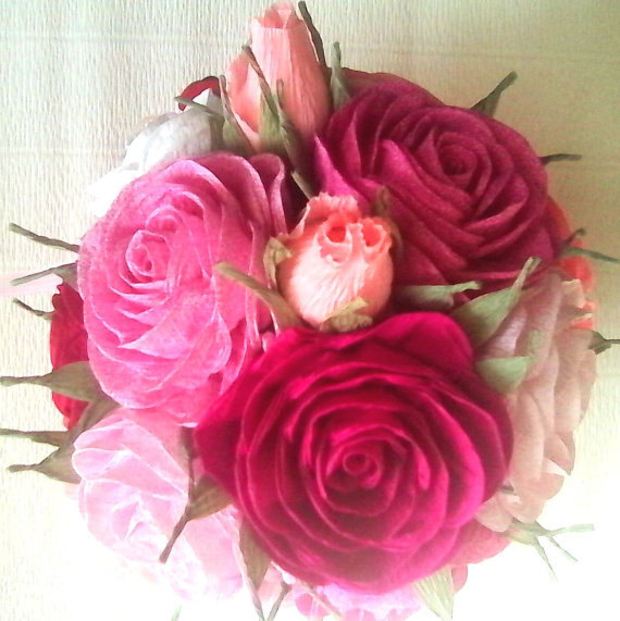 Crepe Paper Roses Flowers Baby Shower CENTERPIECE Baptism Flower