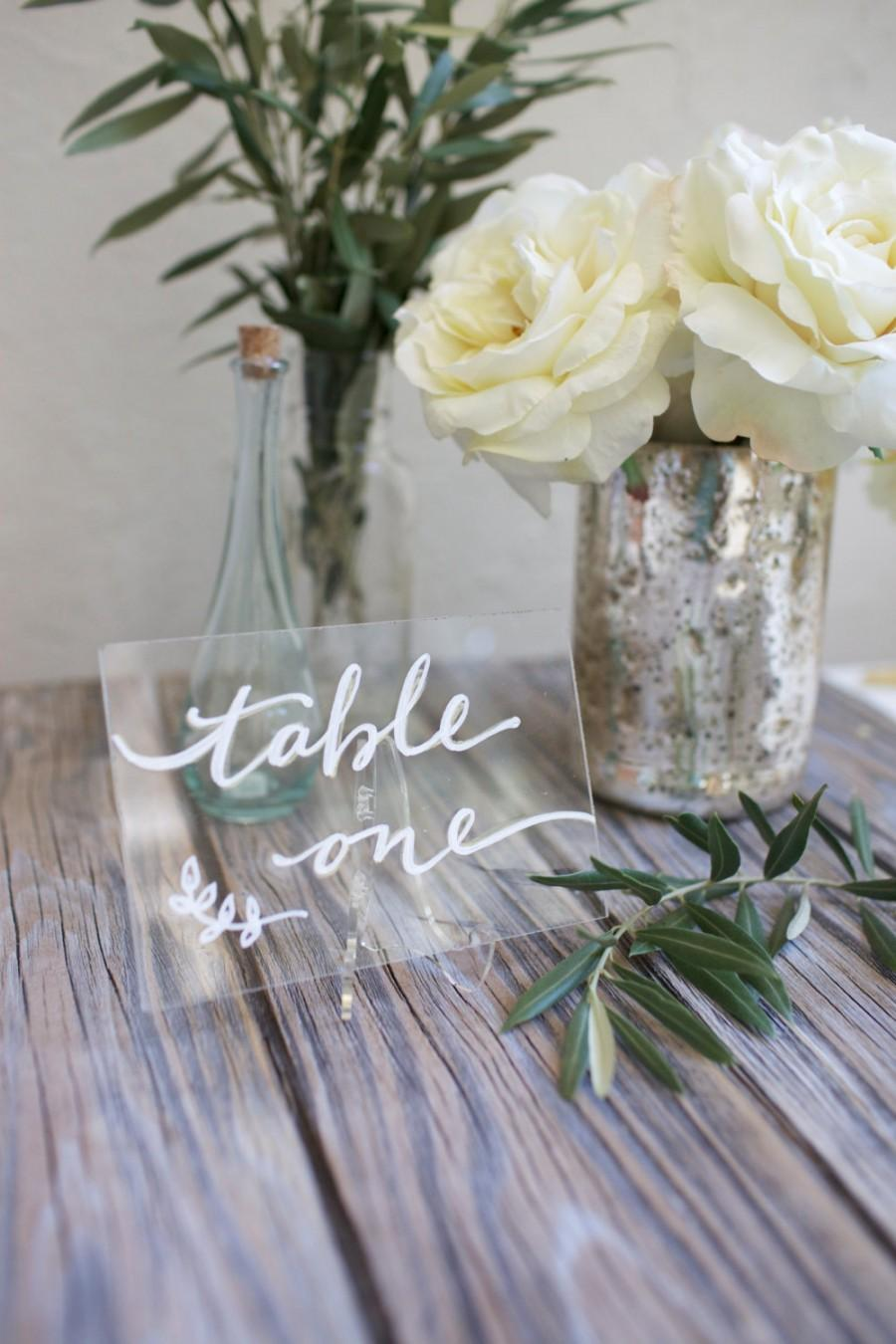 "Wedding - Acrylic plexiglass table numbers or names. Size 4 x 6"". Clear or metallic. Custom designed for your unique wedding style. Any font or style"