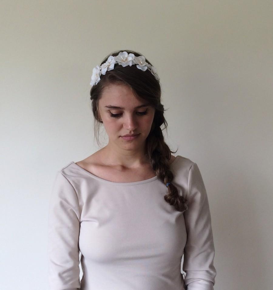 Bridal flower tiara wedding ivory crown pearl flowers hairband bridal flower tiara wedding ivory crown pearl flowers hairband embroidered crown flower girl headband bridesmaid headpiece gift mightylinksfo