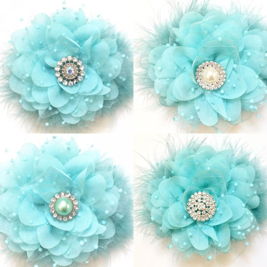 Mariage - Spring Blue, Aqua Blue, Mint Blue Chiffon Mesh Hair Flower Clip, Flower Girl Hair Bow, Easter Hair Bow, Bridal Hair Flower Clip, Dance