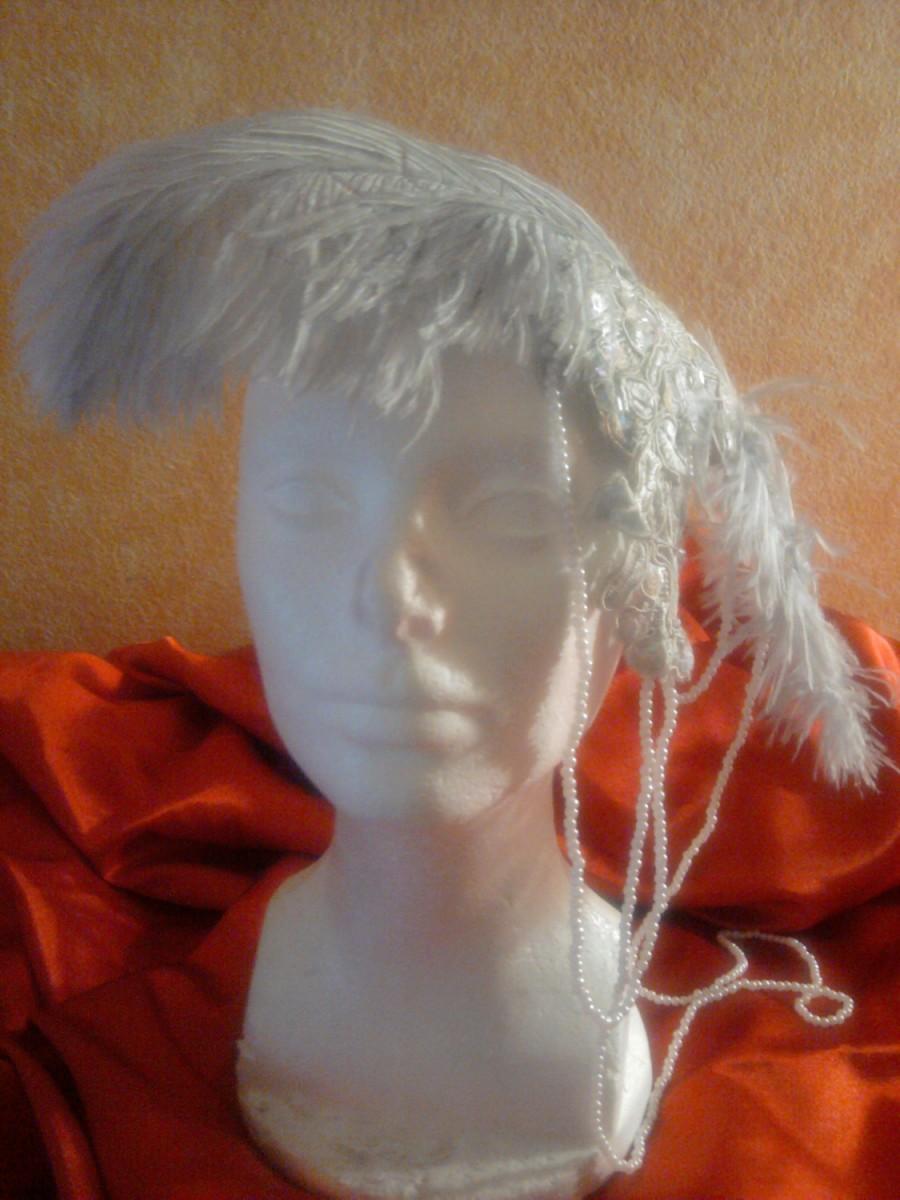 Mariage - Gorgeous Vintage Inspired Silver Gray Lace Feather Pearl Headpiece Hat Victorian Gatsby Burlesque Bridal Costume Wedding Party Theatrical