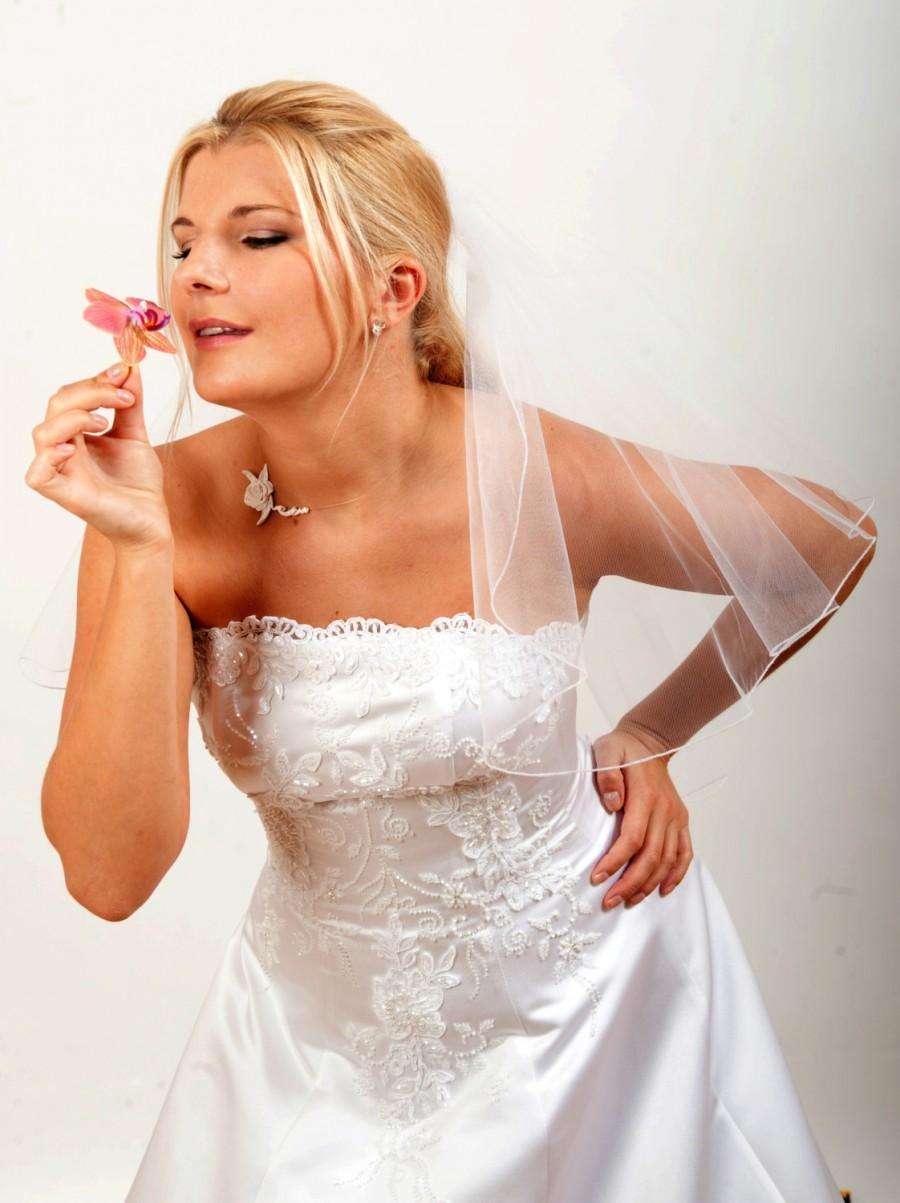 Hochzeit - Bridal Shoulder Veil  Half Circle Cut Pencil Edge Finish Model Abby