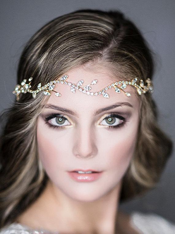Hochzeit - Bridal Halo Headband, Wedding Hair Accessories, Vintage Style Leaf Hair Vine, Swarovski Crystal Headpiece, Art Deco Jewelry (COLLETTE)