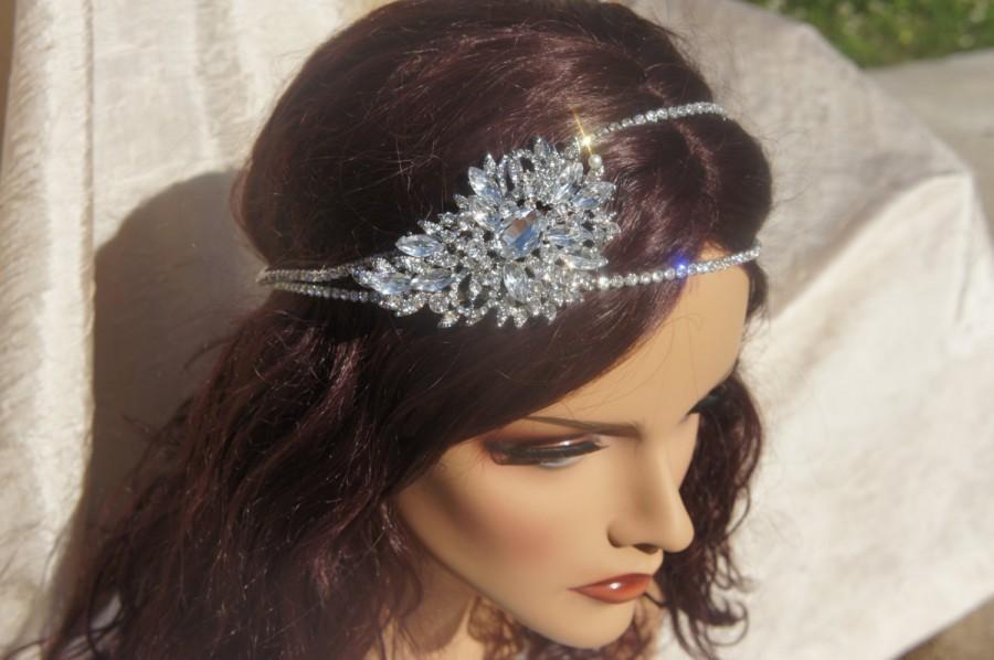 Wedding - Bridal Crystal Brooch Headband, Big Crystal Brooch Piece, Silver or Rose Gold 3 inch Brooch, Vintage headband, Bridal Rhinestone Headband
