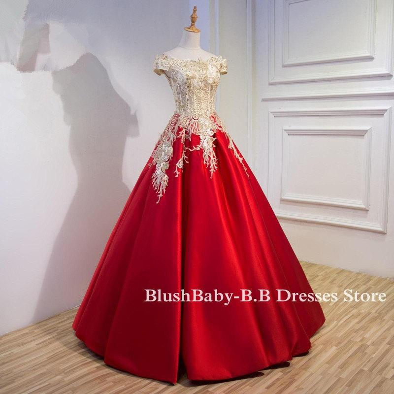 fe85ddbb14 Champagne Red Ball Gown A-Line Off Shoulder Prom Dress Hand Made Lace  Beaded Prom Ball Gown Women Evening Party Prom Ball Quality Made