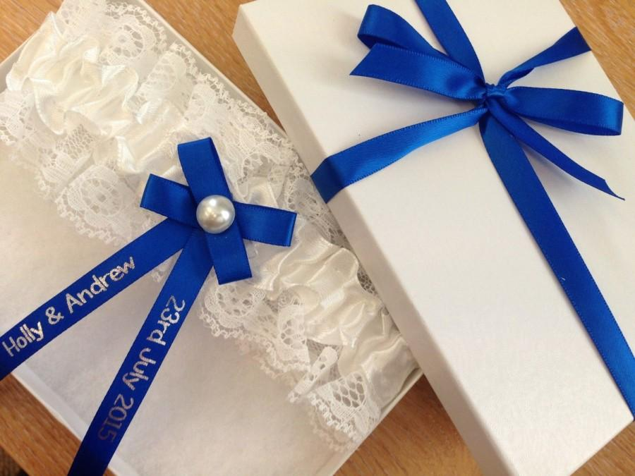 Mariage - Personalised Wedding Garter in Royal Blue- Made to order with name and wedding date - Excellent Gift for the Bride - Lingerie Belt PG106GB