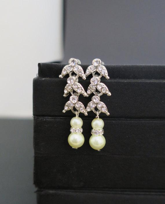 Wedding - Art Deco Bridal Earrings, Crystal Wedding Earrings, Pearl Bridal Statement Earrings Bridal Wedding Jewelry Vintage Old Hollywood Classic ADA