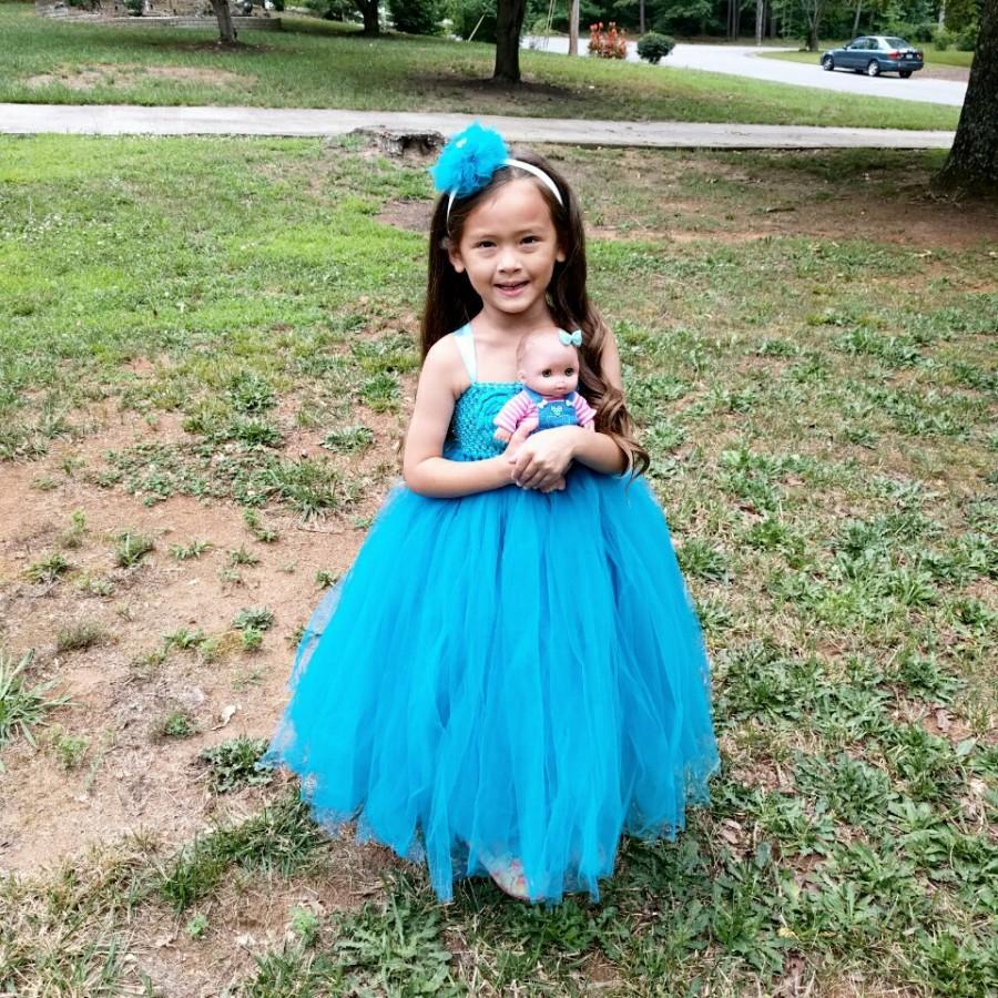 Wedding - Blue Tutu Dress/Toddler Tutu Dress/Flower Girl Tutu Dress/Princess Tutu Dress/Birthday Tutu Dress/Long Tutu Dress/Blue Flower Girl Dress