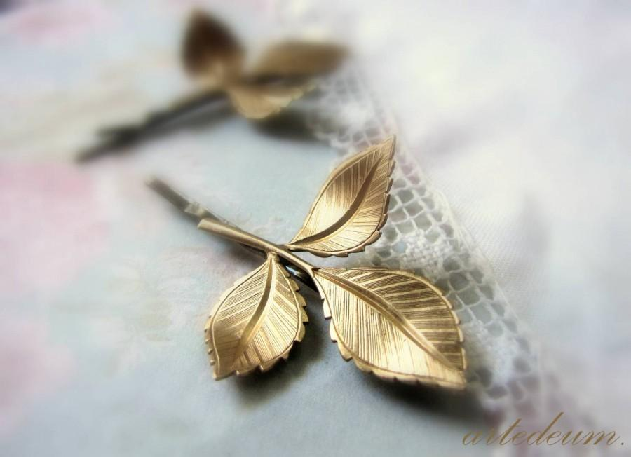 Mariage - Leaf hair pins Bridal leaves gold Bridal Bobby pin Branch Pin  hair accessory Woodland bride Bridesmaids Hair pins Autumn Nature