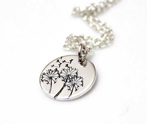dandelion wish necklace dandelion necklace sterling silver dandelion necklace