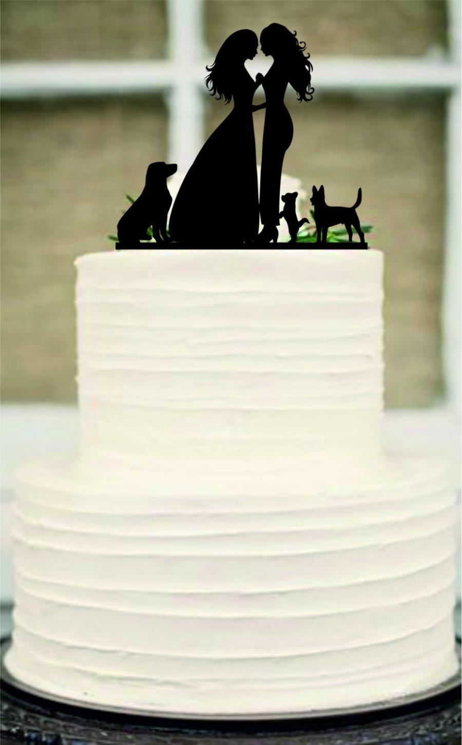 Hochzeit - Lesbian Cake Topper, Same Sex Cake Topper, Mrs and Mrs Wedding Cake Topper, dog cake topper, Rustic Wedding Cake, Unique wedding cake topper