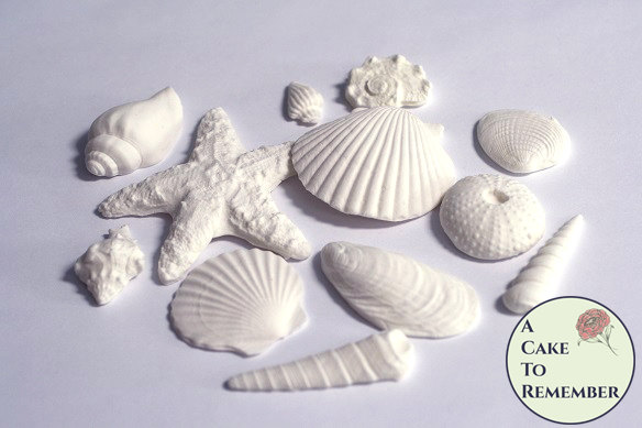 Свадьба - 12 White Edible Sea shells- Variety for cakes, beach wedding cakes. Under the sea ocean cakes, mermaid cakes, Gumpaste edible seashells