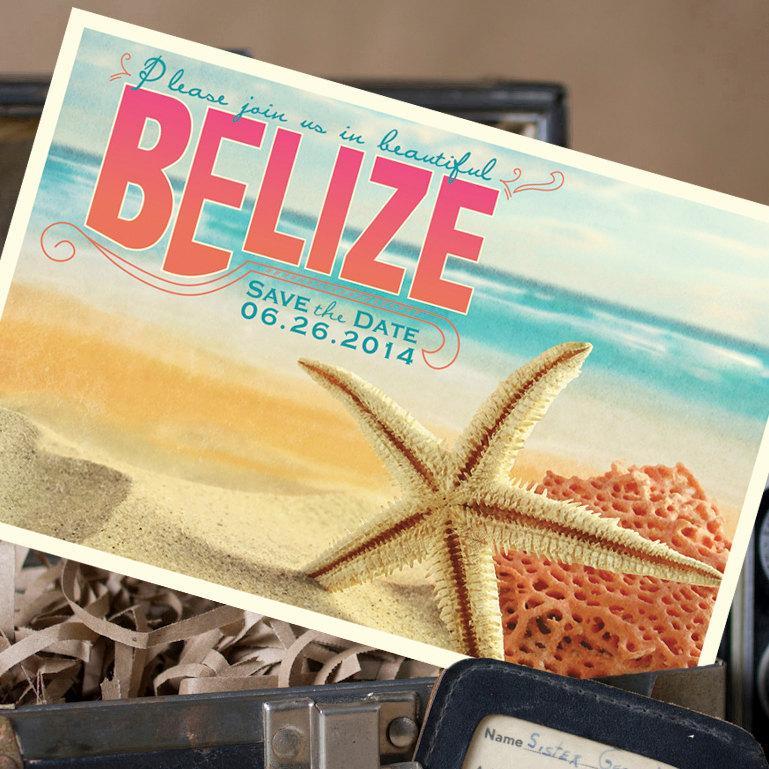 Hochzeit - Travel Postcard Save the Date (Belize) - Design Fee