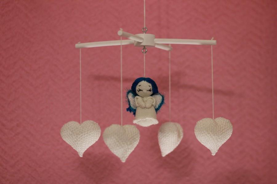 Baby Mobiles Hanging Crochet Baby Mobile Angel White Baby Crib