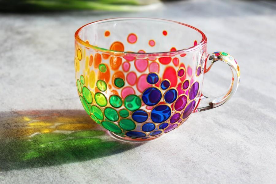 Wedding - Bubbles Big Mug Painted Coffee Mug Colorful Bubbles Mug Mosaic Cup Rainbow Big Mug Bright Mug Multi Colored Mug Handmade Glass Mug Large Cup