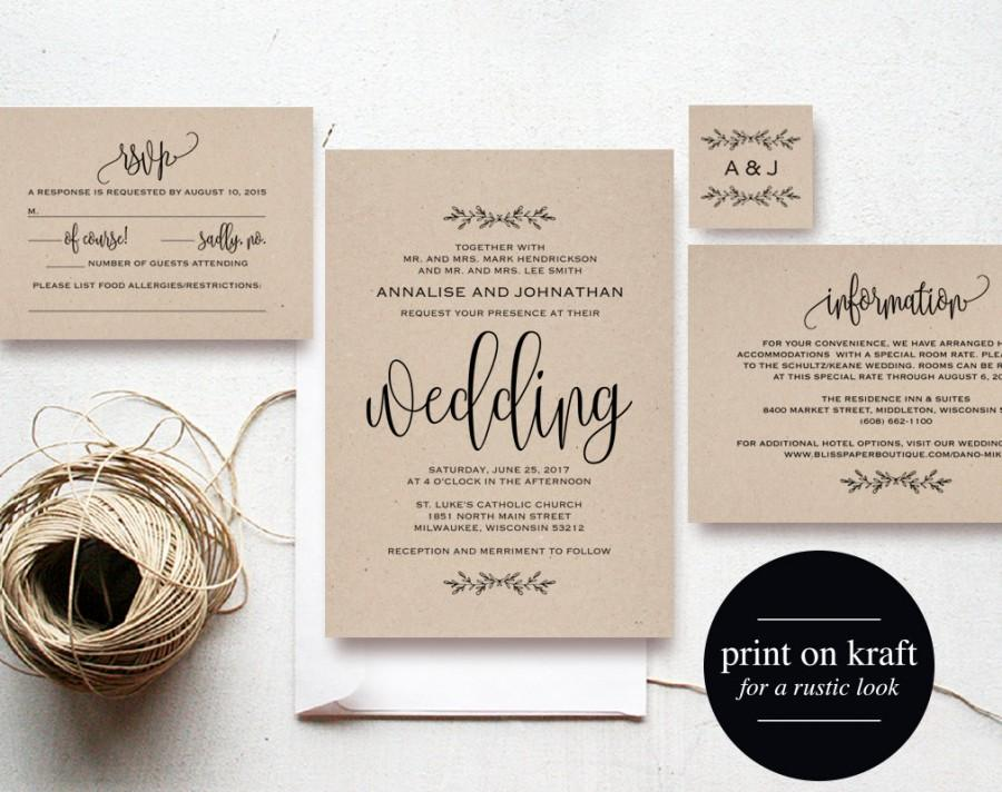 Kraft wedding invitation printable rustic invitation set wedding kraft wedding invitation printable rustic invitation set wedding template formal invitation invite pdf instant download stopboris Gallery