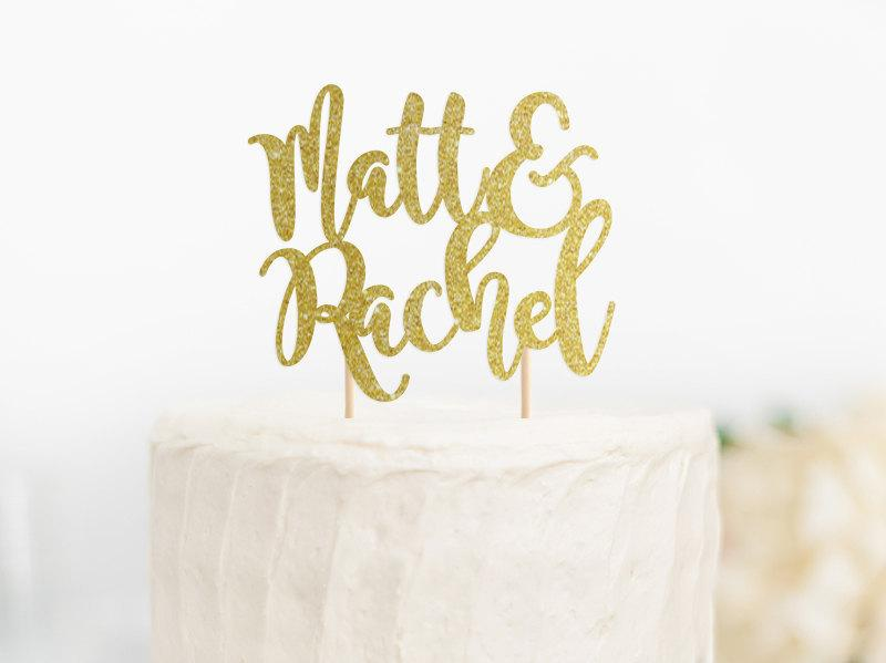 Wedding Cake Topper, Custom Name Cake Topper, Ampersand Cake Topper ...