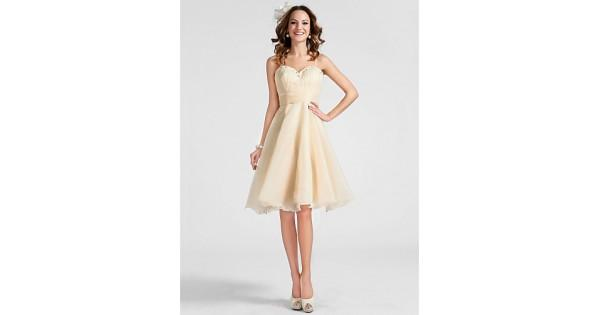 Wedding - / Cocktail Party / Prom Dress - Champagne Plus Sizes / Petite A-line / Princess Sweetheart / Spaghetti Straps Knee-length
