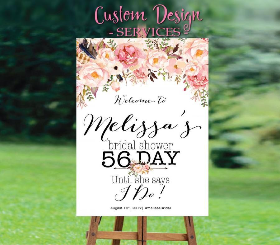 Hochzeit - Bridal Shower Welcome Sign, Bridal Shower sign, Bridal Shower decoration, welcome wedding sign, Bridal shower invitation, WSC-5idd