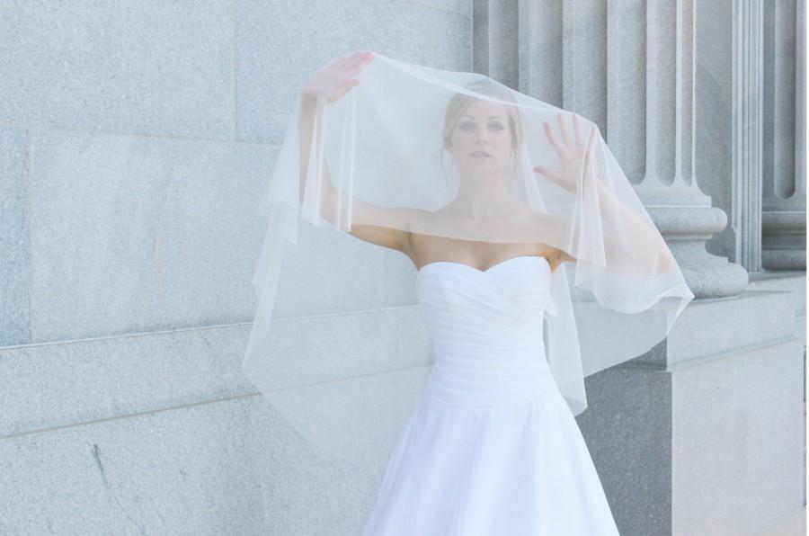 Mariage - Ivory English Net Circle Veil, Elbow length veil