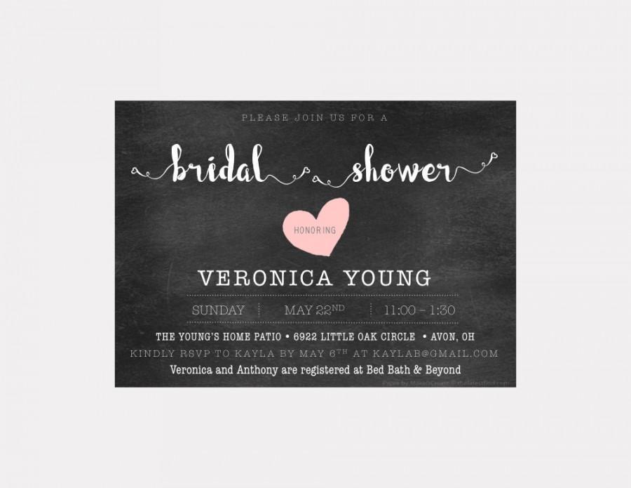 Mariage - Bridal Shower Invitation - Printable - Hearts - Chalkboard - Minimal - Digital Invite