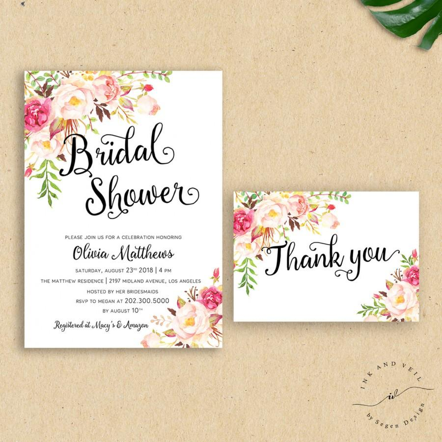romantic boho wedding shower invitation floral bridal shower invite modern calligraphy tribal rustic custom flower invite olivia