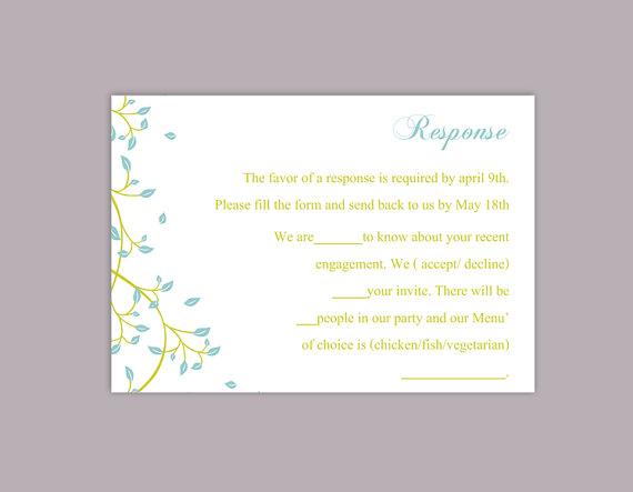 زفاف - DIY Wedding RSVP Template Editable Word File Instant Download Rsvp Template Printable RSVP Cards Blue Green Rsvp Card Elegant Rsvp Card
