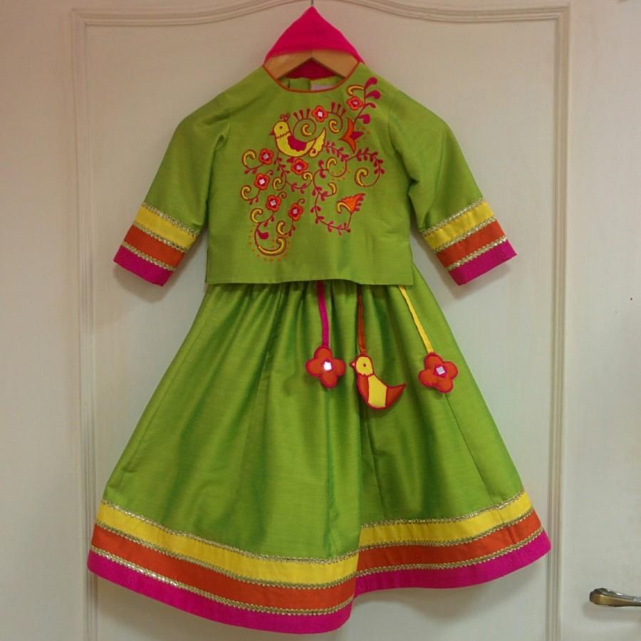 زفاف - Long sleeve colorful indian lehenga flower girl dress, embroidery, handmade tassels, gold & bright color accents, indian wedding, festival