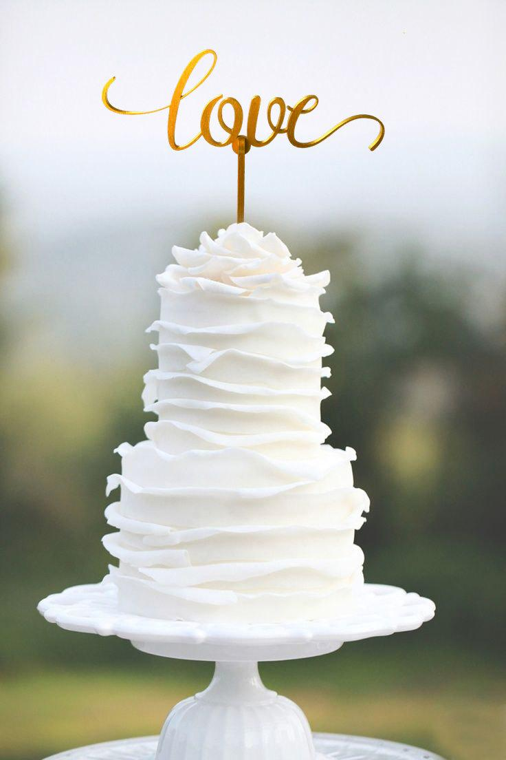 Mariage - LOVE Wedding cake topper, Gold wedding cake topper, Silver wedding cake topper