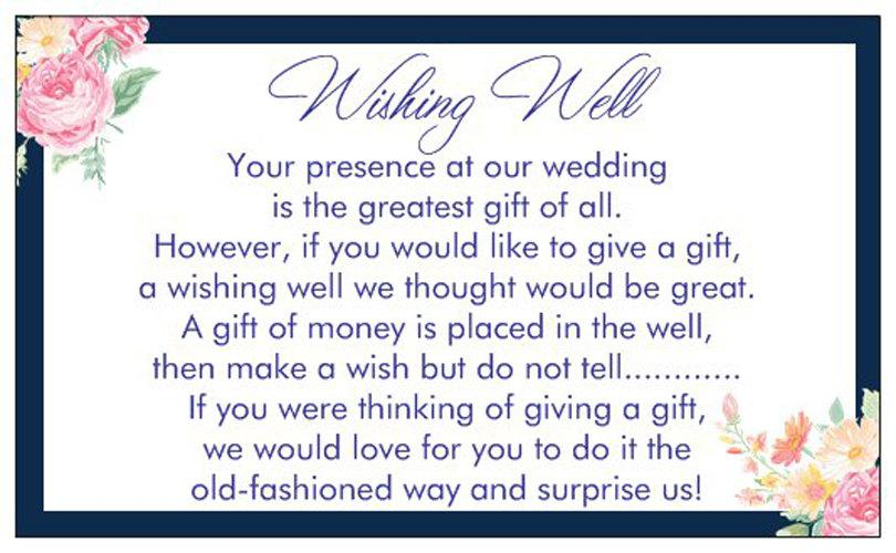 Hochzeit - 10 WISHING WELL CARDS Navy blue flowers vintage floral white print text for including with wedding invitations gif cards
