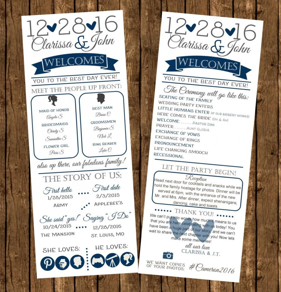 Infographic Wedding Programs Printed Fun Cermony Digital File