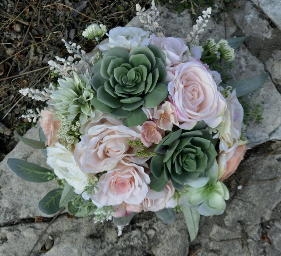 Mariage - Blush & Sage Succulent Bouquet