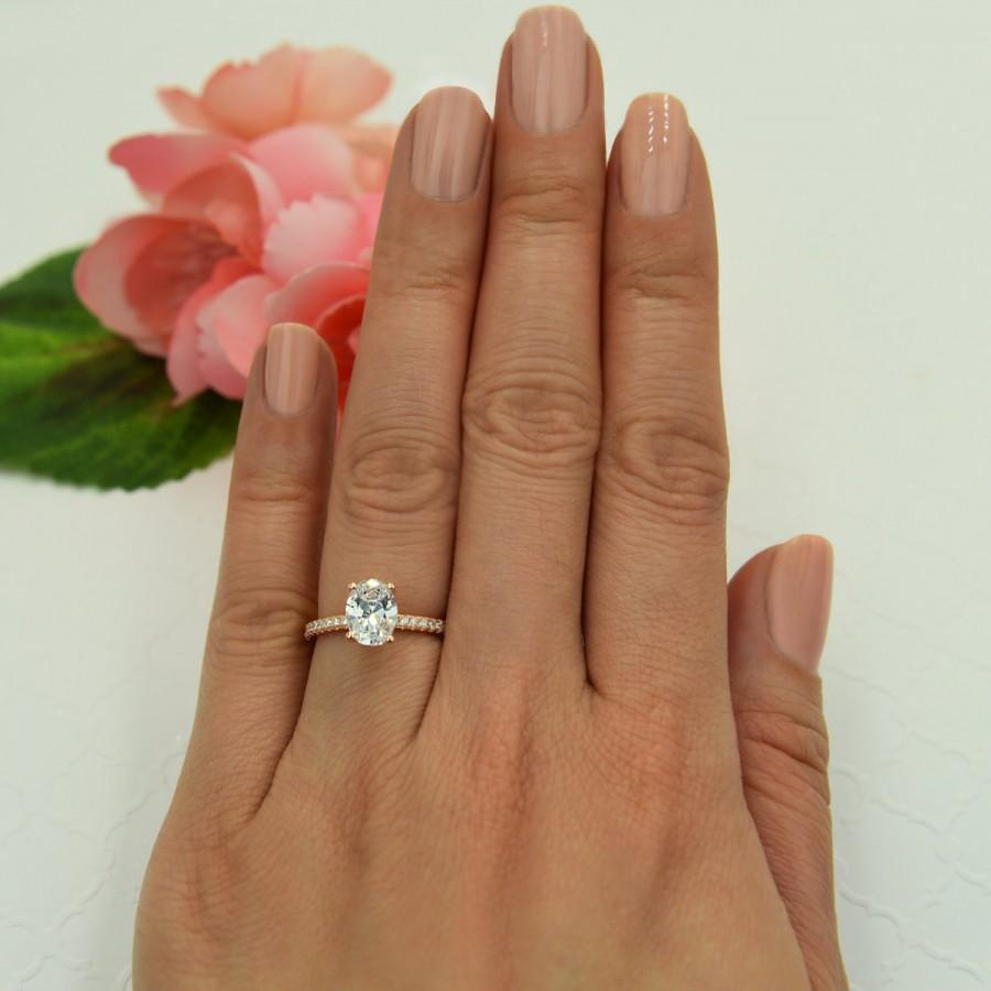 Wedding - 1.25 ctw Oval Accented Solitaire Wedding Ring, Bridal Ring, Man Made Diamond Simulants, Engagement Ring, Sterling Silver, Rose Gold Plated