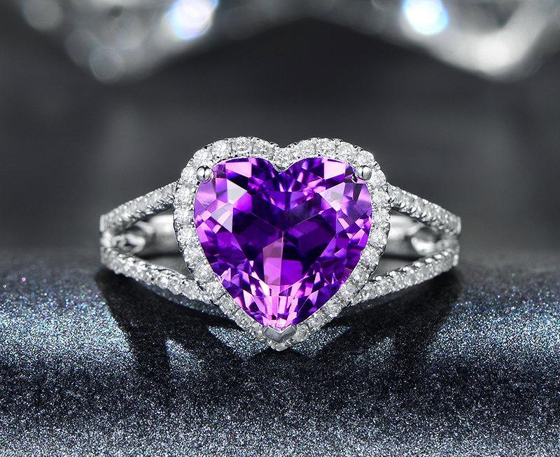 Свадьба - Heart Cut Engagement Ring Amethyst Ring, Heart Amethyst Split Shank Ring,Halo Engagement Ring,Split Band Engagement Ring,Love Ring
