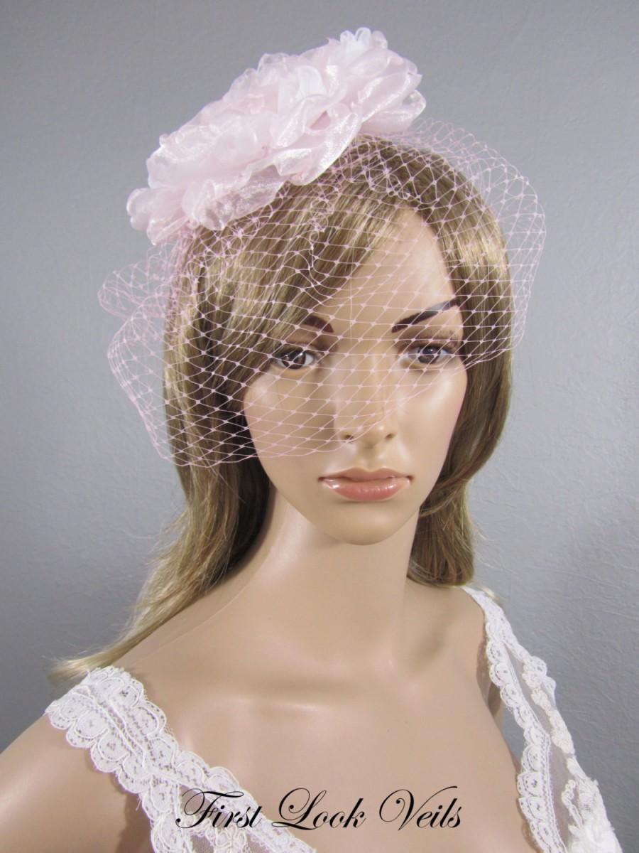 Свадьба - Pink Birdcage Veil, Wedding Veil, Bird Cage Veil, Pink Russian Netting Veil, Valentine Bridal Accessory, Pink Veil, Pink Hair Comb