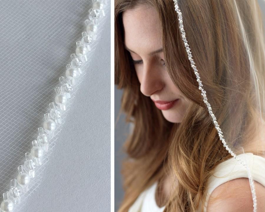 Mariage - Crystal Bridal Veil, Pearl Wedding Veil, 1 Layer Veil, Ivory Bridal Veil, Fingertip Length Veil, Veil for Bride, Bridal Headpiece ~VB-5063