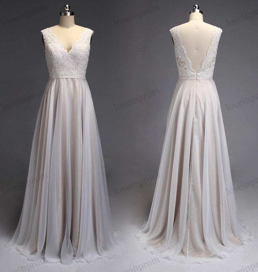 Champagne Lace Cheap Wedding Dresses Chiffon Long Bridal Gowns Cheap