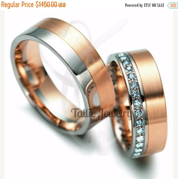 ON SALE Diamond Wedding BandsWomens Bands10K Gold Mens RingMatching RingsHis Hers RingsTwo Tone Weddi
