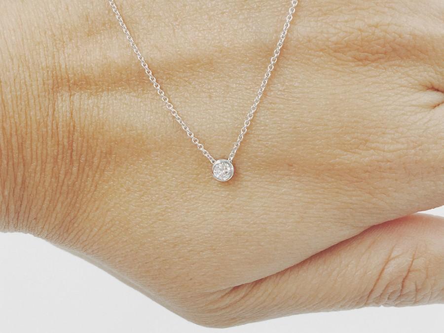 Wedding - SALE! Diamond Necklace, Minimalist Necklace, 0.07 Ct. Dainty Diamond Bezel Necklace, Diamond Solitaire Necklace without Ears
