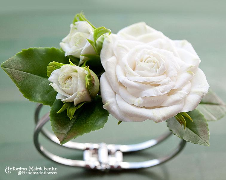 Mariage - Bracelet Roses - Polymer Clay Flowers - Wedding Accessories