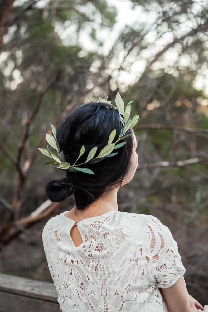 Mariage - Olive branch flower crown,floral crown,olive leaves,wedding headpiece,bridal hair accessory,flower girl crown,silk flowers,hair wreath