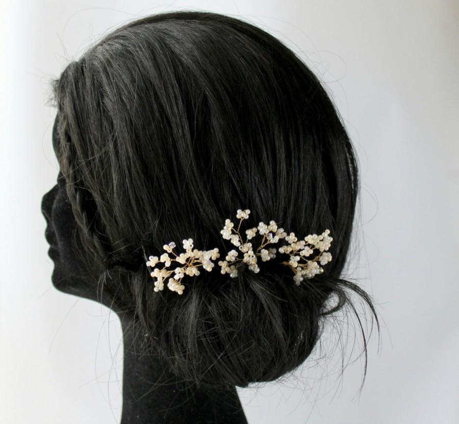 Mariage - Babys Breath Wedding Hair Pins, Bridal Hair Pins, Hair Pin Set, Hair Accessory, Pearl Hair Pins, Wedding Headdress, Bridal Hair Picks,