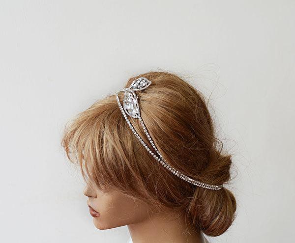 Mariage - Bridal Hair Accessories,  Bridal Rhinestone Headband, Wedding hair Accessory, Rhinestone Hair Wrap Headband