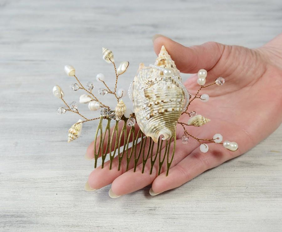 Mariage - Seashell Hair Accessories,Seashell Hair comb Beach wedding Hair Headpiece Mermaid Hair Comb Bridal Hair Barrette  Bridesmaid crystal  Comb