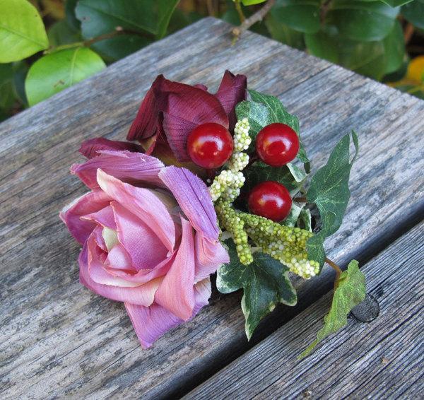 Mariage - Burgundy and dusty pink  Roses Hair Flower cluster -  Hair clip -WEDDINGS-