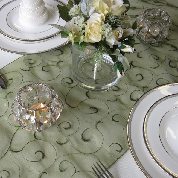 Mariage - Swirl Embroidered Organza Table Runner (many colors available)