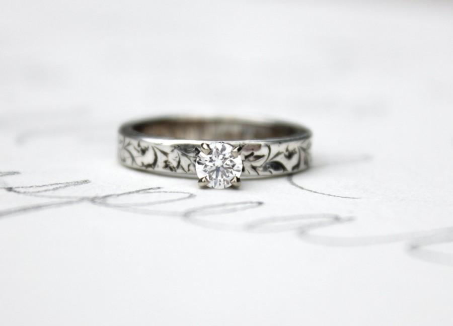 زفاف - custom ethical diamond engagement ring . recycled fine silver band . 10k white gold prong setting . made to order in your size