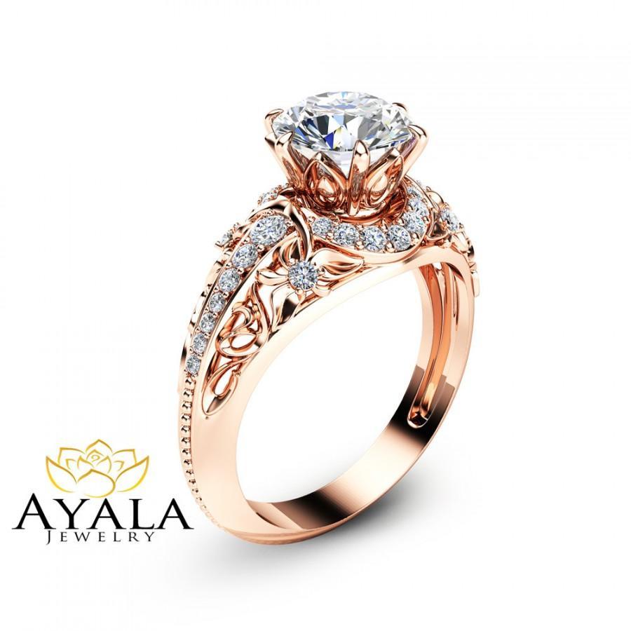 Mariage - 14K Rose Gold Moissanite Ring Forever Brilliant Moissanite Engagement Ring Unique Engagement Ring