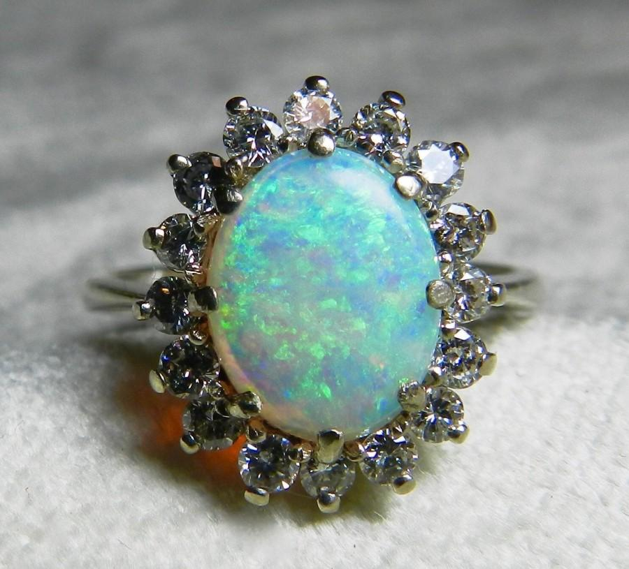 Свадьба - Opal Ring Vintage Opal Engagement Ring 1.65 carat Australian Opal Engagement Ring Colorful Opal 0.50cttw Diamond Halo 14k white gold
