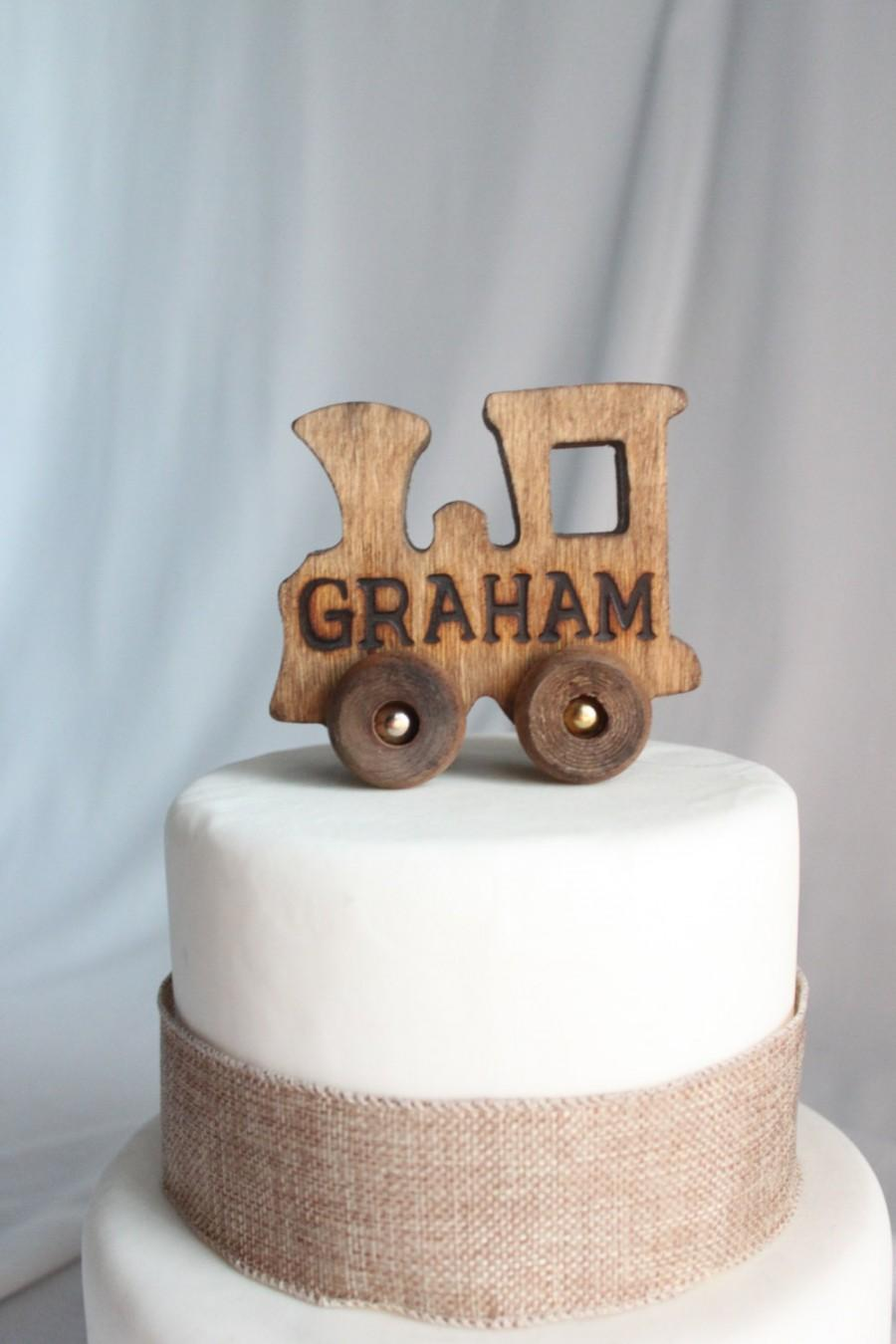 Old Fashioned Wood Toy Engine Train With Name Cake Topper Personalized Vintage Look Varnish Over The Top Engraved